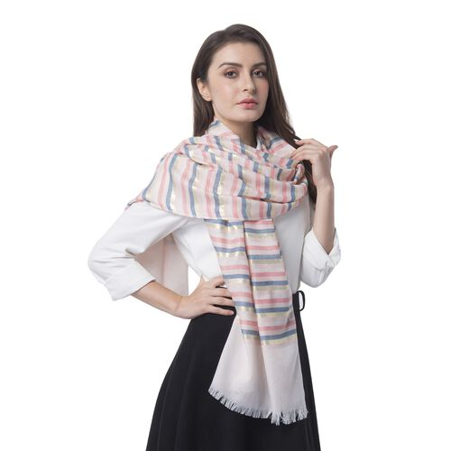Pink, Blue and Multi Colour Stripes Pattern Scarf (Size 180x68 Cm)