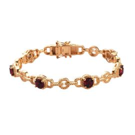 J Francis Ruby Colour Crystal from Swarovski Station Bracelet in 18K Gold Plated 7.5 Inch