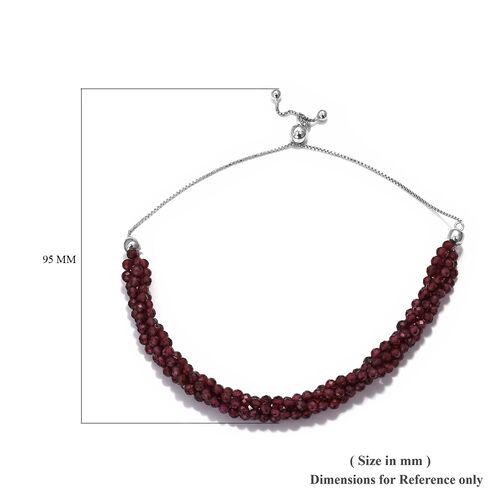 Rhodolite Garnet Beads Bolo Bracelet (Size 6.5-9.5 Adjustable) in Platinum Overlay Sterling Silver 25.20 Ct.