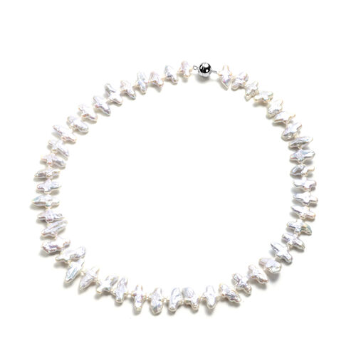 Baroque White Pearl Necklace (Size 20 with Magnetic Lock) in Rhodium Overlay Sterling Silver