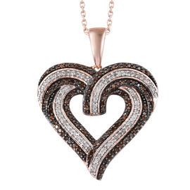 1.01 Ct Red and White Diamond Heart Pendant With Chain in Rose Gold Plated Silver