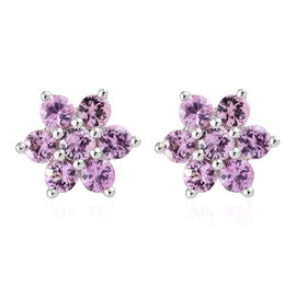 Pink Sapphire (Rnd) Floral Stud Earrings (With Push Back) in Platinum Overlay Sterling Silver 1.500 Ct.