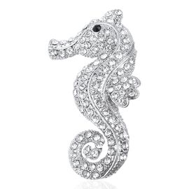 White and Black Austrain Crystal Seahorse Brooch in Silver Plated