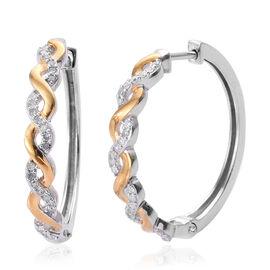 0.25 Carat Diamond Twisted Hoop Earrings in Two Tone Plated Sterling Silver 4.24 Grams