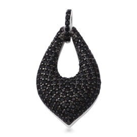 Boi Ploi Black Spinel (Rnd) Pendant in Rhodium and Black Overlay Sterling Silver 3.90 Ct.