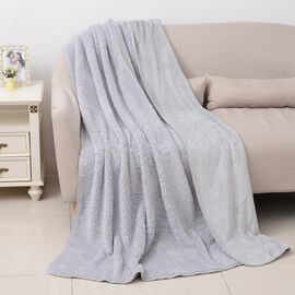High-Quality Flannel Sherpa Bonded Blanket (Size 200x150 Cm) Silver White Colour