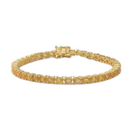 9.66 Ct Yellow Sapphire Tennis Bracelet in Gold Plated Silver 8.87 Grams 7.5 Inch