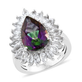 Mystic Green Topaz (Pear), White Topaz Ring in Platinum Overlay Sterling Silver 7.000 Ct.