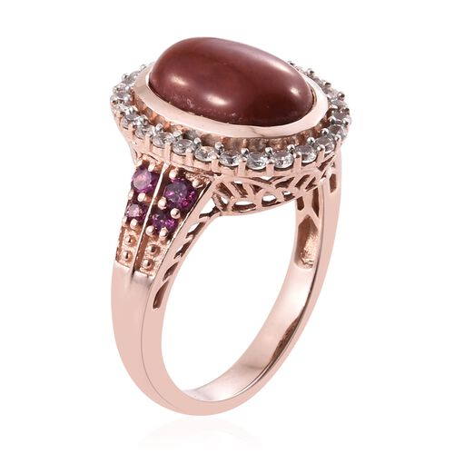 Red Jade (Ovl 6.90 Ct), Natural Cambodian Zircon and Rhodolite Garnet Ring in Rose Gold Overlay Sterling Silver 8.250 Ct. Silver wt. 6.16 Gms.