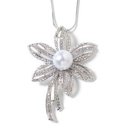 Simulated Pearl (Rnd), White Austrian Crystal Flower Pendant with Chain (Size 29 and 2.5 inch Extender) in Silver Tone