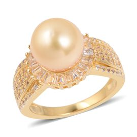 Golden South Sea Pearl and White Topaz Halo Design Ring in Gold Plated Sterling Silver