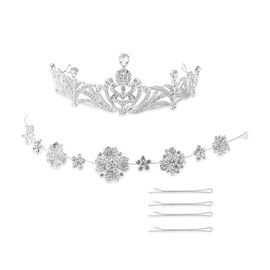 3 Piece Set - Simulated Diamond (Pear), White Austrian Crystal Tiara, Hair Band and Hair Pins in Sil