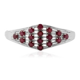 African Ruby (13.75 Ct) Platinum Overlay Sterling Silver Bangle (Size 7)  13.750  Ct.