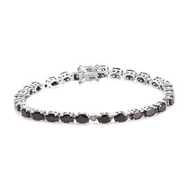 Elite Shungite (Ovl), Diamond Bracelet (Size 7.5) in Platinum Overlay Sterling Silver 7.05 Ct, Silve