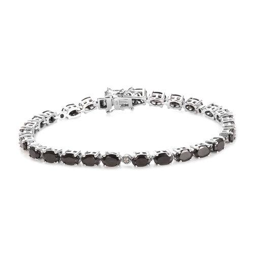 Elite Shungite (Ovl), Diamond Bracelet (Size 7.5) in Platinum Overlay Sterling Silver 7.05 Ct, Silve