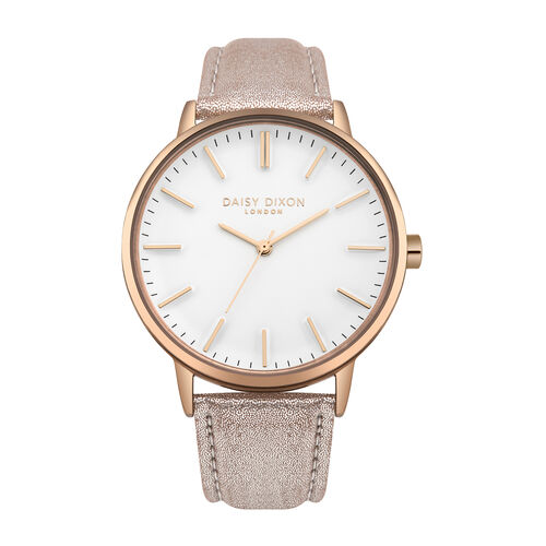 Daisy Dixon Harper Nude Metallic Strap With Overside Rose Gold Case & White Dial Ladies Watch