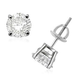 1.50 Ct Diamond Stud Solitaire Earrings in 14K White Gold Certified FG I1