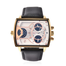 GENOA Two Movement Multi Function White and Gold Tone Dial Watch with Genuine Black Leather Strap