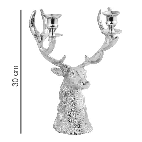 Home Decor - Designer Inspired - Antique Look ReinDeer Head Candelabra in Silver Tone