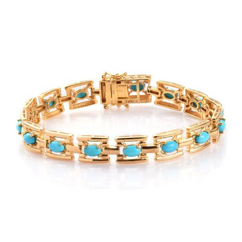 AA Arizona Sleeping Beauty Turquoise Bracelet (Size 8) in 14K Gold Overlay Sterling Silver 6.00 Ct,