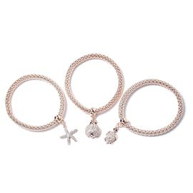 Set of 3 Multi Colour Austrian Crystal Tortoise, Starfish and Ladybug Charm Stretchable Bracelet (Size 7 - 7.5) in Rose Tone