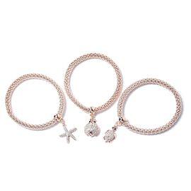 Set of 3 Multi Colour Austrian Crystal Tortoise, Starfish and Ladybug Charm Stretchable Bracelet (Si