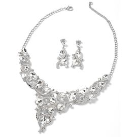 2 Piece Set - Simulated Diamond and White Austrian Crystal Necklace (Size 18 with 3 inch Extender) a