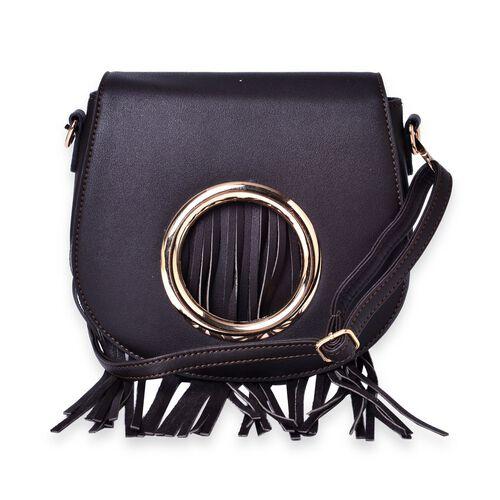 Black Colour Crossbody Bag with Tassels and Adjustable and Removable Shoulder Strap (Size 21.5x19x7 Cm)