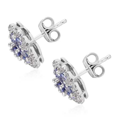 Tanzanite (Rnd), Natural Cambodian Zircon Floral Earrings (with Push Back) in Platinum Overlay Sterling Silver 2.000 Ct.