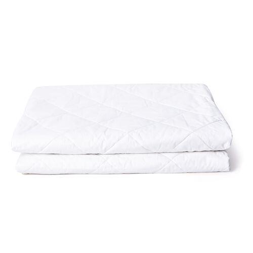 100% Mulberry Silk Quilted Mattress Topper with 100% Cotton Cover & Four Elastic Strap - Size: King