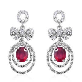 African Ruby (Ovl 5.10 Ct), White Topaz Earrings (with Push Back) in Rhodium Overlay Sterling Silver