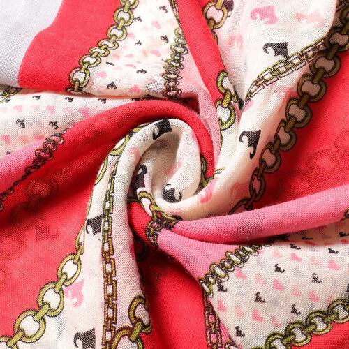 100% Wool Floral and Polka Dot Print Scraf (66x175+9cm) - Pink
