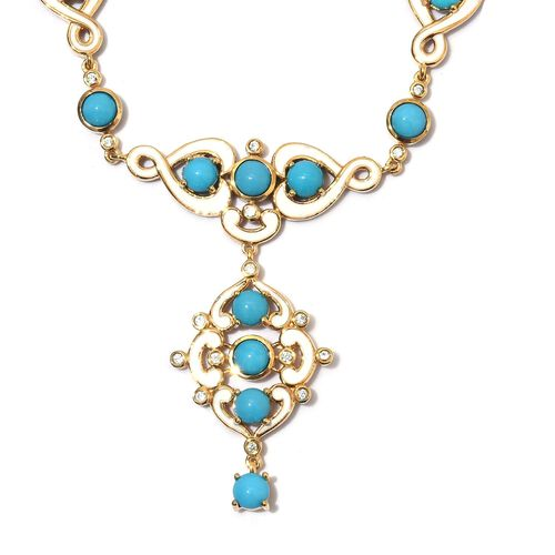 11.25 Ct Arizona Sleeping Beauty Turquoise and Zircon Y Necklace in Gold Plated Silver 18 Inch