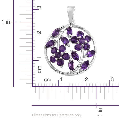 Amethyst 1.50 Ct Floral and Leaves Silver Pendant in Platinum Overlay