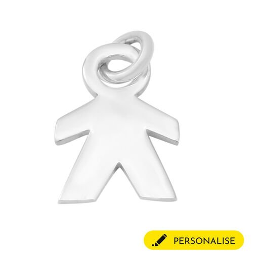 Personalise Engravable Boy Pendant in Silver