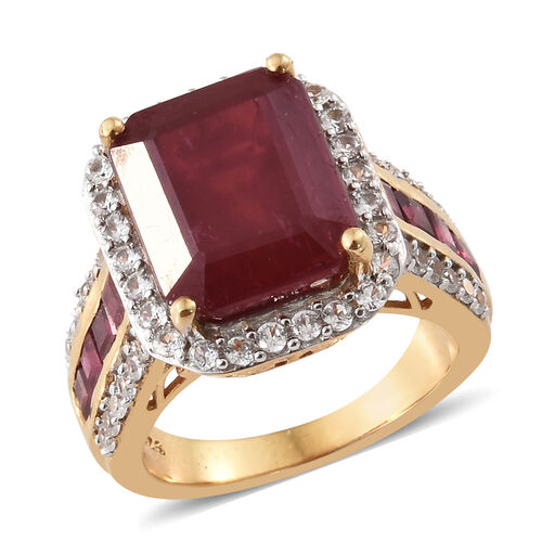 African Ruby (Oct 8.00 Ct), Natural White Cambodian Zircon Ring in 14K Gold Overlay Sterling Silver 10.000 Ct, Silver wt 6.50 Gms.