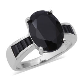 AAA Boi Ploi Black Spinel (Ovl and Bgt) Ring in Rhodium Overlay Sterling Silver 8.20 Ct.