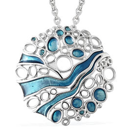 Isabella Liu Arctic Collection - Rhodium Overlay Sterling Silver Enamelled Pendant with Chain (Size