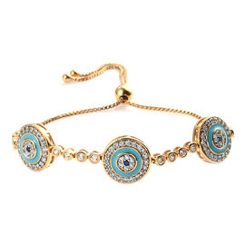 Blue Sapphire ,  Zircon  Line Bracelet 1 Row (Size - 7.5) in 14K Gold Overlay Sterling Silver 2.42 c