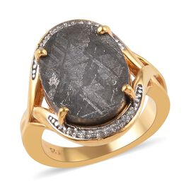 4.42 Ct Meteorite and Cambodian Zircon Ring in Gold Plated Sterling Silver
