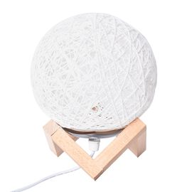 Rattan Ball Table Lamp (Size 14.5x14.5 Cm) - White and Beige