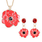 TJC Poppy Design - Set of 2  Black and Red Austrian Crystal Enamelled Poppy Earrings (with Push Back