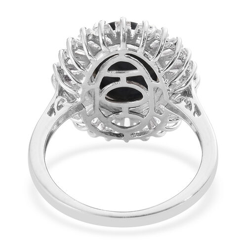 Natural Spectrolite (Ovl 3.40 Ct), White Topaz Ring in Platinum Overlay Sterling Silver 5.500 Ct.