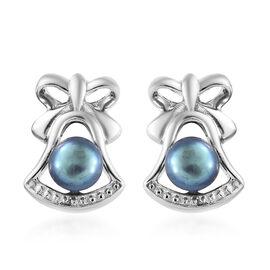 Fresh Water Peacock Pearl (Rnd) Stud Earrings in Platinum Overlay Sterling Silver
