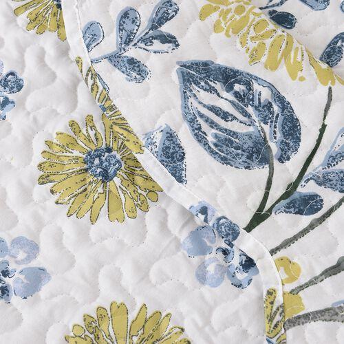 3 Piece Set  - Microfibre Flower Pattern Quilt (Size 260x240) and 2 Pillow Case (Size 70x50 Cm)