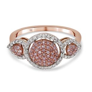 9K Rose Gold Natural Pink Diamond and White Diamond (I3/G-H) Ring 0.50 Ct.