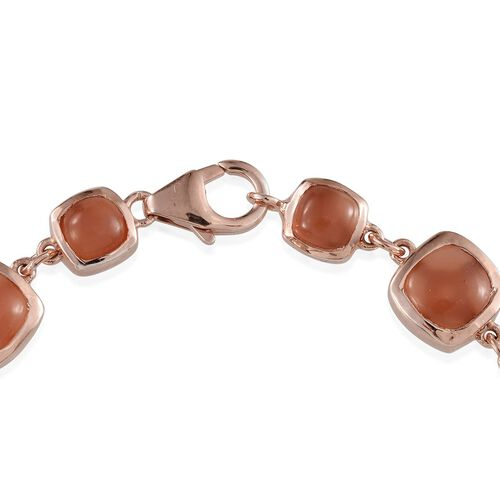 Mitiyagoda Peach Moonstone (Cush) Bracelet (Size 7) in Rose Gold Overlay Sterling Silver 16.750 Ct.