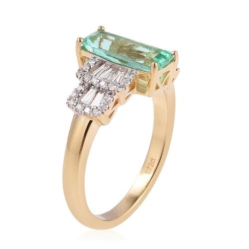 ILIANA 18K Yellow Gold AAAA Boyaca Colombian Emerald (Oct) Diamond (SI/G-H) Ballerina Ring 2.225 Ct, Gold wt 5.95 Gms.