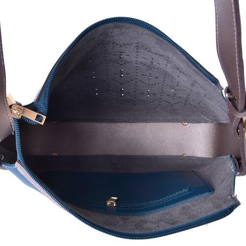 Teal and Light Grey Colour Cutout Pattern Shoulder Bag (Size 28X28X10 Cm)