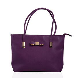 New Season - Classic Bow City Tote Handbag  (29 x 23 x 9 Cms) - Purple